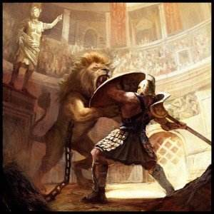 Gladiator against beast